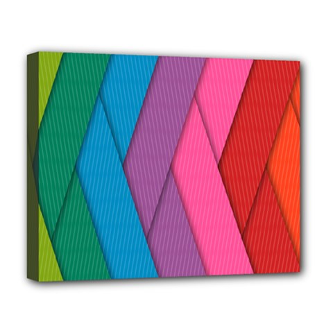 Abstract Background Colorful Strips Deluxe Canvas 20  X 16  (stretched) by Simbadda