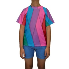 Abstract Background Colorful Strips Kids  Short Sleeve Swimwear by Simbadda