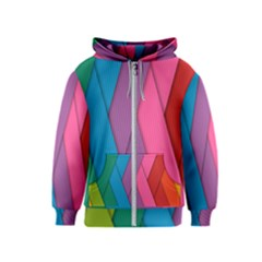 Abstract Background Colorful Strips Kids  Zipper Hoodie by Simbadda