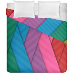 Abstract Background Colorful Strips Duvet Cover Double Side (california King Size) by Simbadda