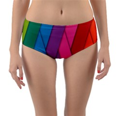 Abstract Background Colorful Strips Reversible Mid-waist Bikini Bottoms by Simbadda