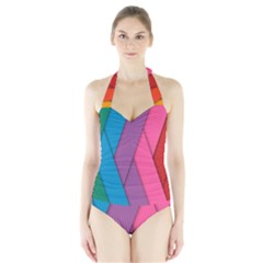 Abstract Background Colorful Strips Halter Swimsuit by Simbadda