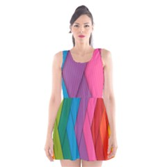 Abstract Background Colorful Strips Scoop Neck Skater Dress by Simbadda