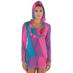 Abstract Background Colorful Strips Long Sleeve Hooded T-shirt by Simbadda
