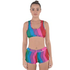 Abstract Background Colorful Strips Racerback Boyleg Bikini Set by Simbadda