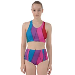 Abstract Background Colorful Strips Racer Back Bikini Set by Simbadda