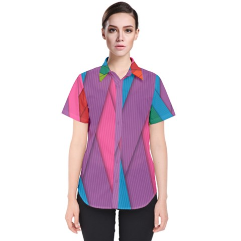 Abstract Background Colorful Strips Women s Short Sleeve Shirt by Simbadda