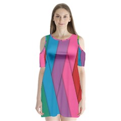 Abstract Background Colorful Strips Shoulder Cutout Velvet One Piece