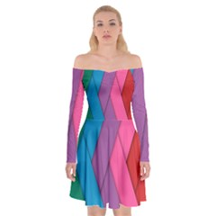 Abstract Background Colorful Strips Off Shoulder Skater Dress