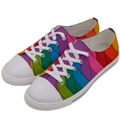 Abstract Background Colorful Strips Women s Low Top Canvas Sneakers by Simbadda