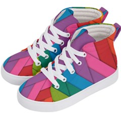 Abstract Background Colorful Strips Kid s Hi-top Skate Sneakers by Simbadda