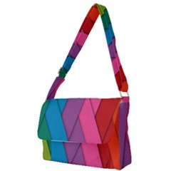 Abstract Background Colorful Strips Full Print Messenger Bag by Simbadda