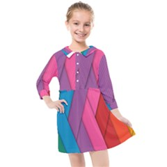 Abstract Background Colorful Strips Kids  Quarter Sleeve Shirt Dress by Simbadda