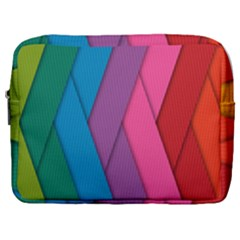 Abstract Background Colorful Strips Make Up Pouch (large) by Simbadda