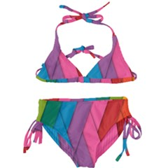 Abstract Background Colorful Strips Kids  Classic Bikini Set by Simbadda