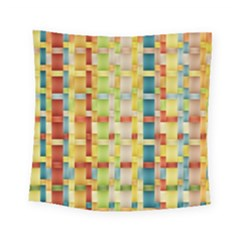 Woven Pattern Background Yellow Square Tapestry (small) by Simbadda