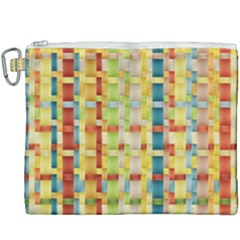 Woven Pattern Background Yellow Canvas Cosmetic Bag (xxxl)