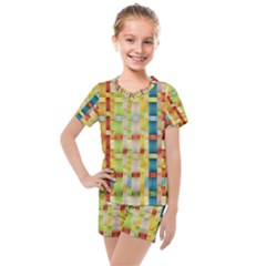 Woven Pattern Background Yellow Kids  Mesh Tee And Shorts Set