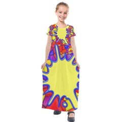Embroidery Dab Color Spray Kids  Short Sleeve Maxi Dress