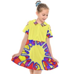 Embroidery Dab Color Spray Kids  Short Sleeve Shirt Dress