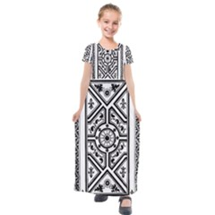 Monastic Antique Scroll Fruit Kids  Short Sleeve Maxi Dress