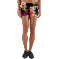 Color Background Structure Lines Yoga Shorts