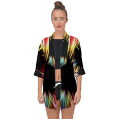 Color Background Structure Lines Open Front Chiffon Kimono by Simbadda