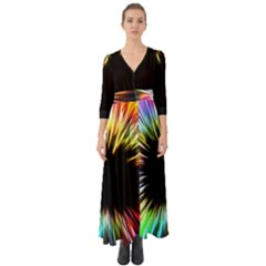 Color Background Structure Lines Button Up Boho Maxi Dress by Simbadda
