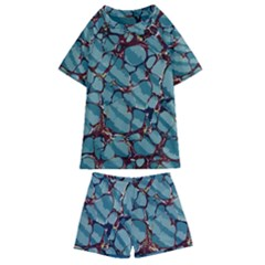Marble Rock Comb Antique Kids  Swim Tee And Shorts Set