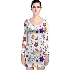 Flowers Pattern Texture Nature Long Sleeve Bodycon Dress