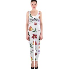 Flowers Pattern Texture Nature One Piece Catsuit