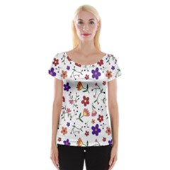 Flowers Pattern Texture Nature Cap Sleeve Top
