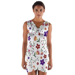 Flowers Pattern Texture Nature Wrap Front Bodycon Dress