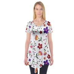 Flowers Pattern Texture Nature Short Sleeve Tunic