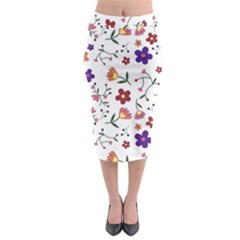 Flowers Pattern Texture Nature Midi Pencil Skirt