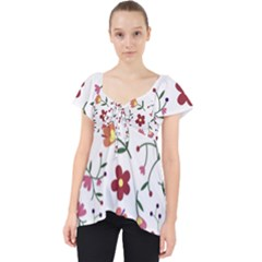 Flowers Pattern Texture Nature Lace Front Dolly Top
