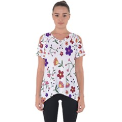 Flowers Pattern Texture Nature Cut Out Side Drop Tee
