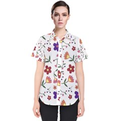Flowers Pattern Texture Nature Women s Short Sleeve Shirt