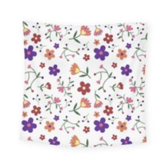 Flowers Pattern Texture Nature Square Tapestry (small)