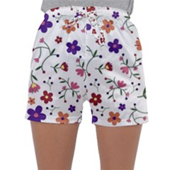 Flowers Pattern Texture Nature Sleepwear Shorts