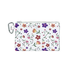 Flowers Pattern Texture Nature Canvas Cosmetic Bag (small) by Simbadda