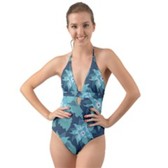 Graphic Design Wallpaper Abstract Halter Cut Out One Piece Swimsuit
