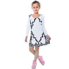 Holbein Antique Scroll Fruit Kids  Long Sleeve Velvet Dress