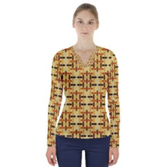 Background Abstract Background V Neck Long Sleeve Top
