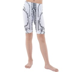 Leighton Floriated Antique Scroll Kids  Mid Length Swim Shorts