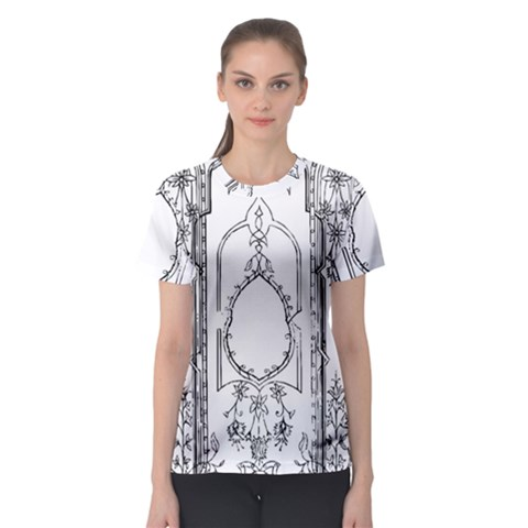 Leighton Floriated Antique Scroll Women s Sport Mesh Tee by Simbadda