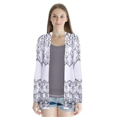 Leighton Floriated Antique Scroll Drape Collar Cardigan by Simbadda