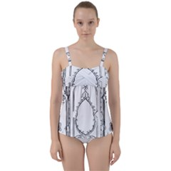 Leighton Floriated Antique Scroll Twist Front Tankini Set