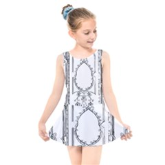 Leighton Floriated Antique Scroll Kids  Skater Dress Swimsuit