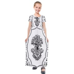 Floriated Antique Scroll Fruit Kids  Short Sleeve Maxi Dress by Simbadda